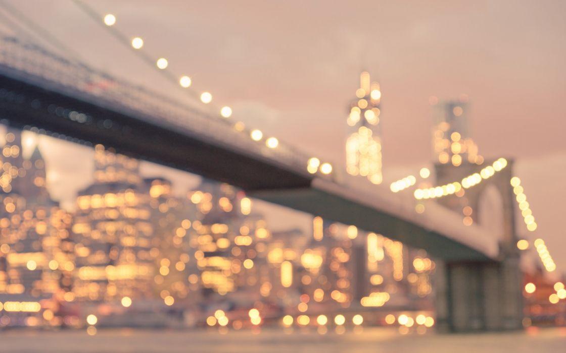 bridge lights bokeh Brooklyn bridge wallpaper