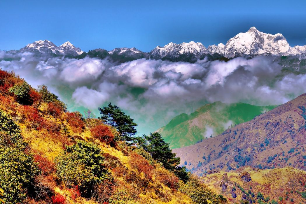 autumn clouds mountains hdr wallpaper