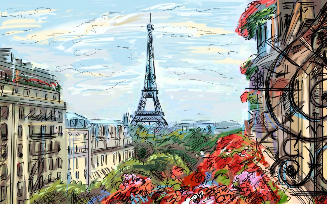 Eiffel tower Paris sky clouds houses france french artwork art painting wallpaper