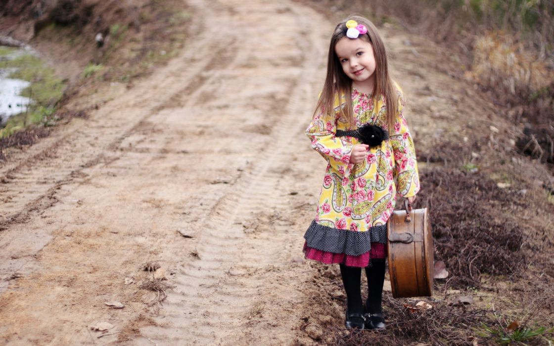 girl a suitcase the road the mood cute child children travel wallpaper