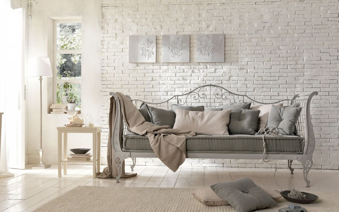 interior country brick sofa forging design room wallpaper