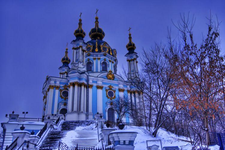 Kiev Ukraine sky evening St Andrew's Church St Andrew's descent snow trees winter wallpaper