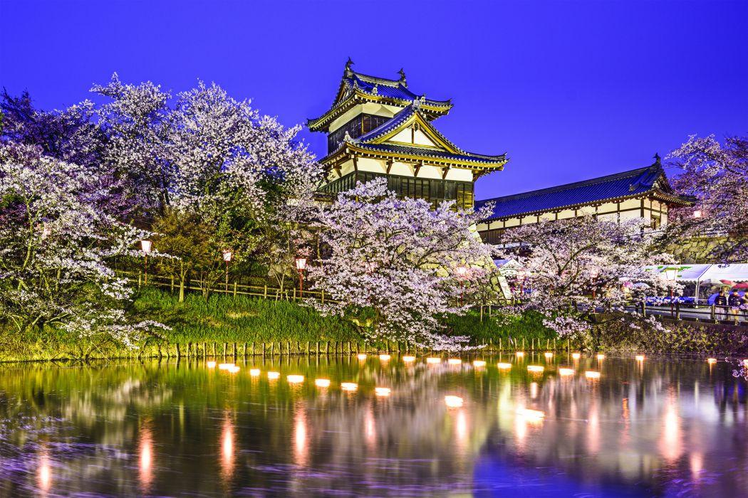 Koriyama Castle Yamatokoriyama Japan pond pond spring park trees cherry reflection lights wallpaper