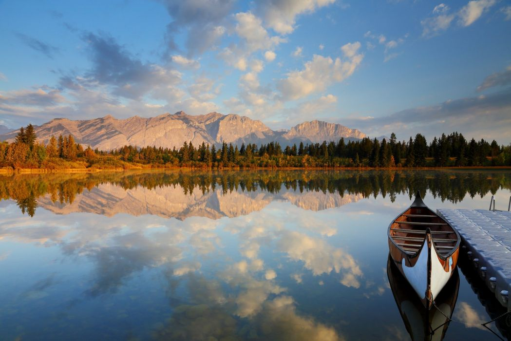mountains forest lake marina boat reflection wallpaper