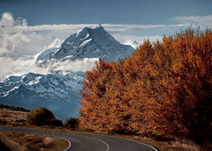Mountains top snow road trees autumn wallpaper