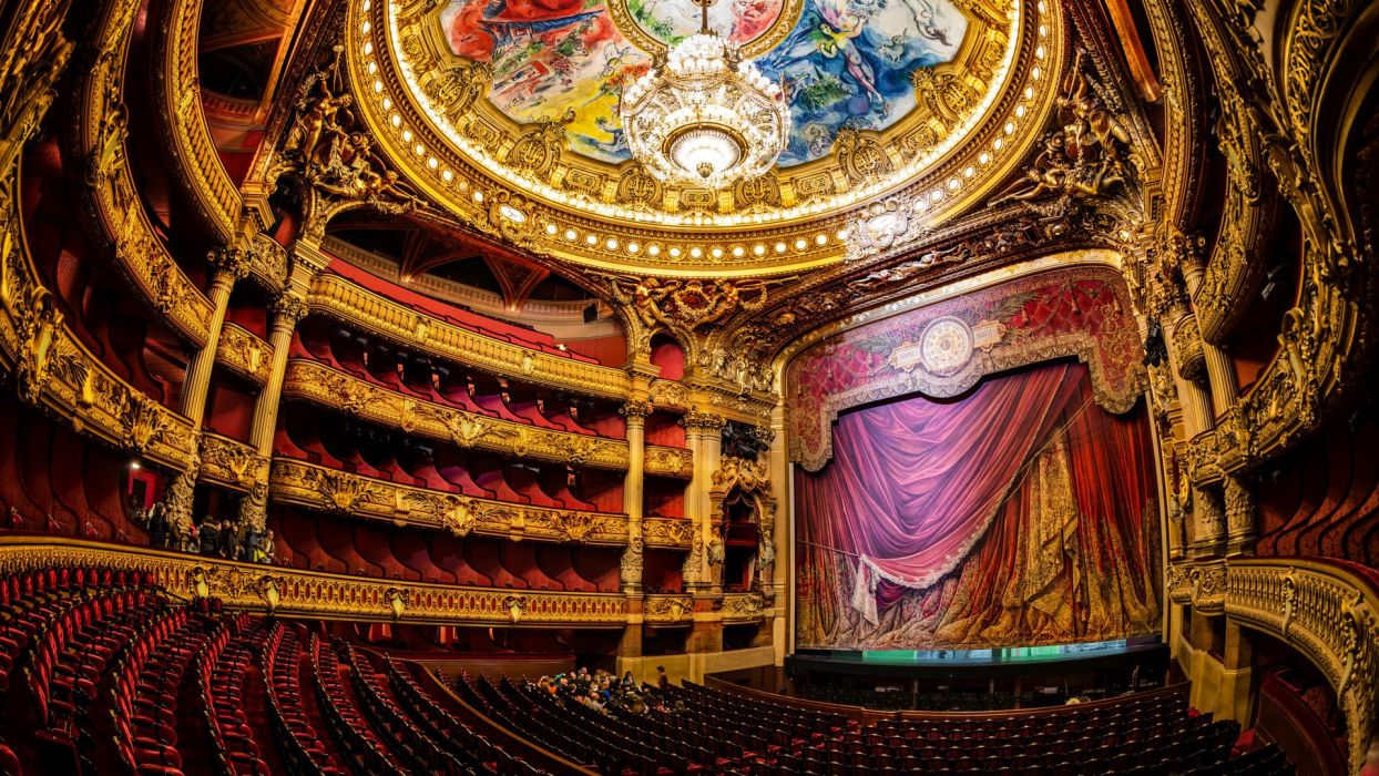 paris opera theater hall stage chandelier france french room design wallpaper
