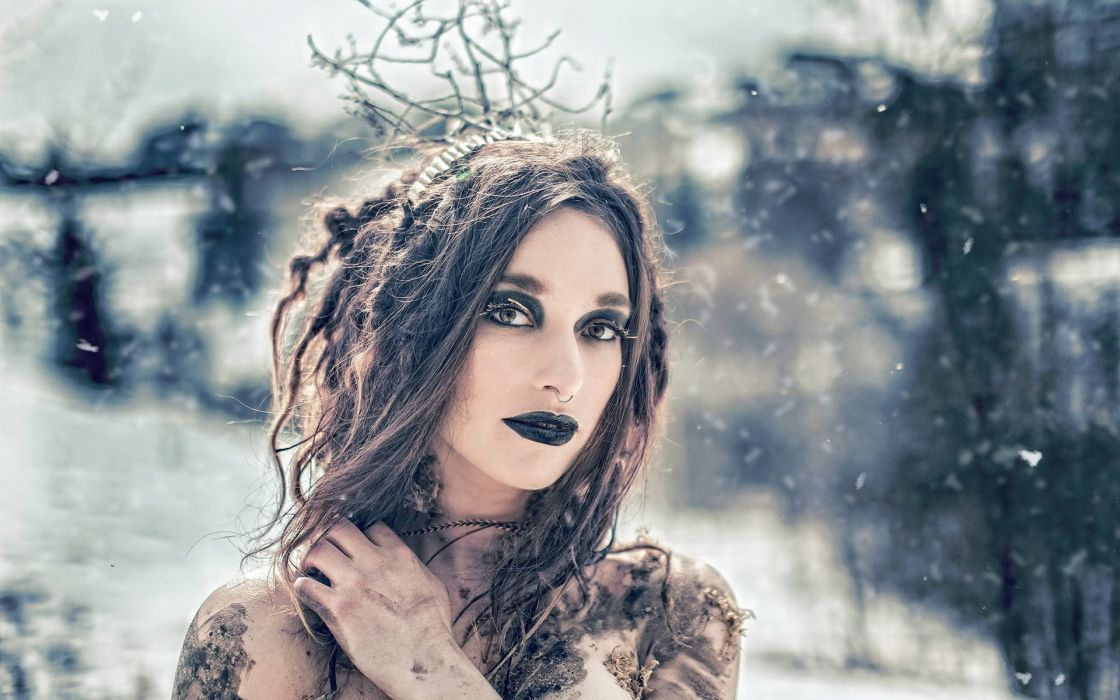 winter snow witch ocult dark flakes snowflake babe look mood wallpaper