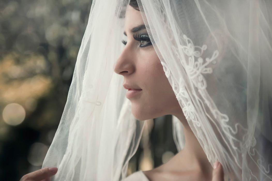wedding bride portrait veil profile mood love wallpaper