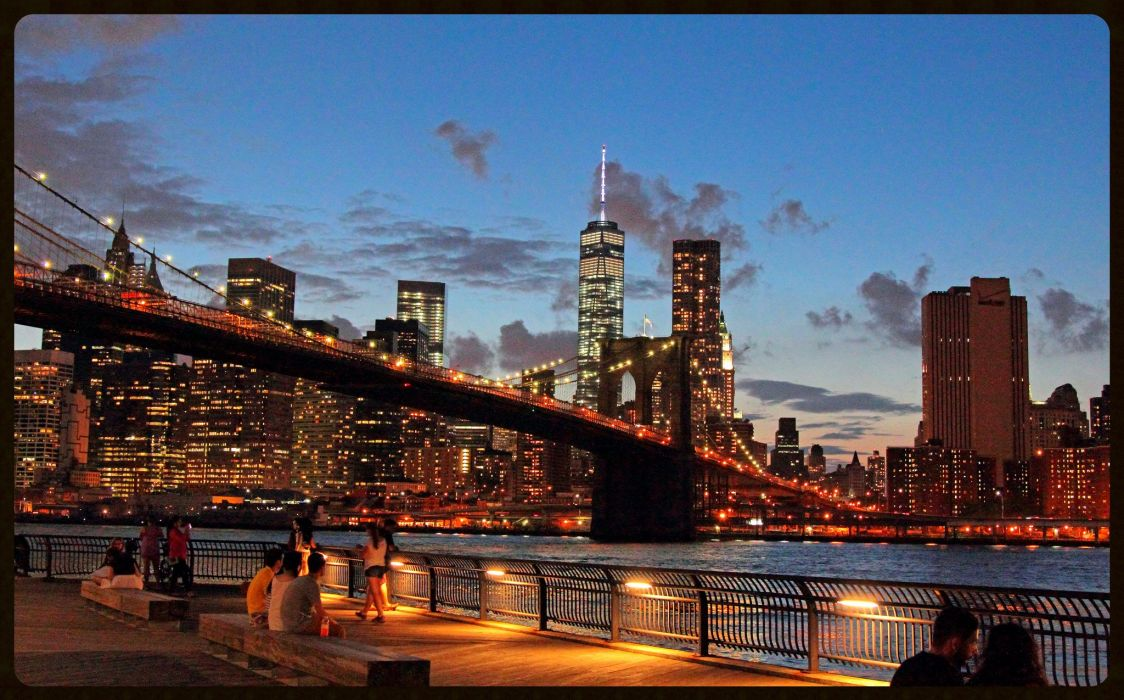 architecture buildings cities cityscape contrast empire Lights Night panorama Place rivers scenic shift skyline skyscrapers State tilt view water window world new-York nyc bridge brooklyn wallpaper