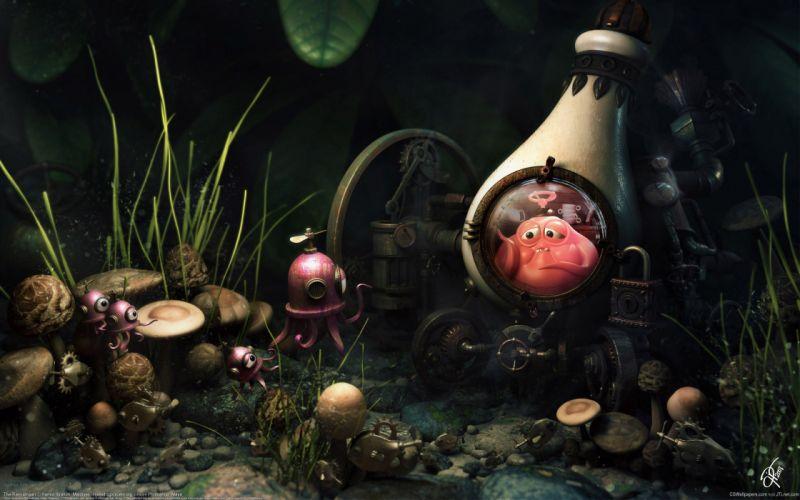 OCTOPUS sealife underwater ocean sea humor funny family cartoon wallpaper