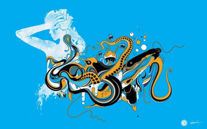 OCTOPUS sealife underwater ocean sea art artwork psychedelic wallpaper