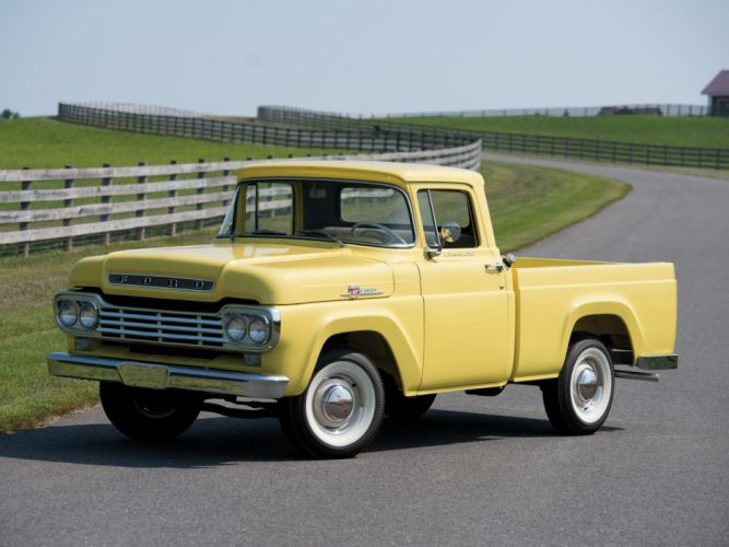 1959 Ford F-100 Custom Cab Styleside Pickup f100 retro wallpaper