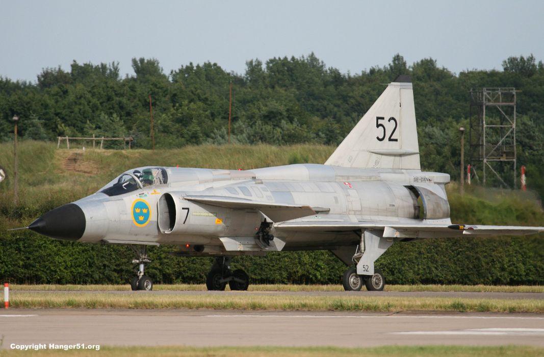Air aircraft Fighter force jet Military swedish viggen JA-37 wallpaper