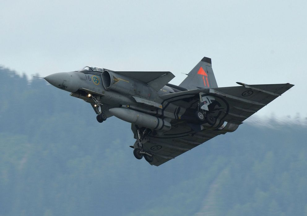 Air aircraft Fighter force ja 37 jet Military swedish viggen wallpaper