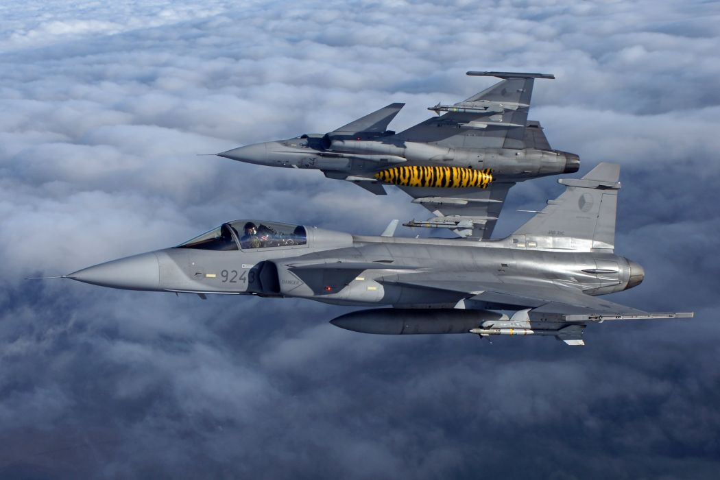 Air aircraft Fighter force gripen jas 39 jet Military saab swedish wallpaper