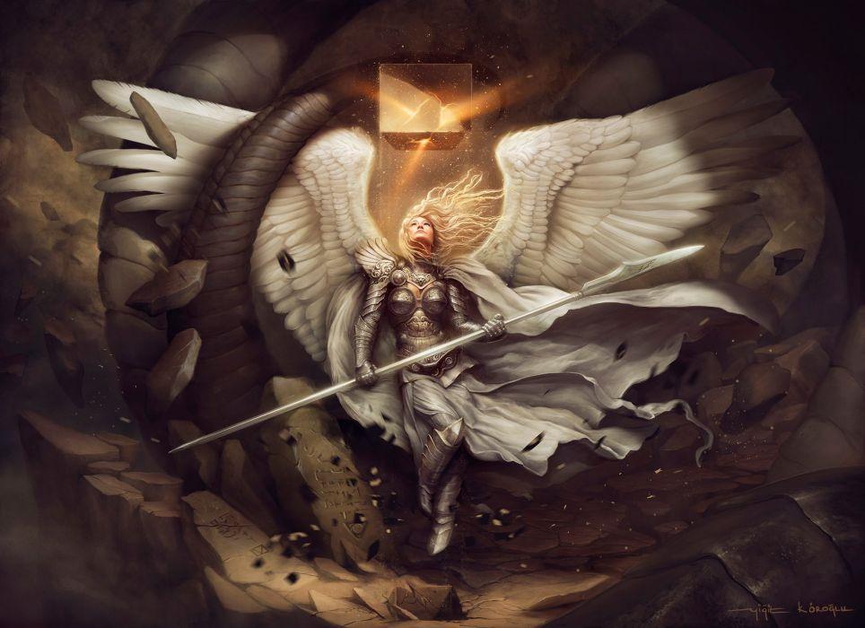Angel Warrior Mage Staff Wings Fantasy Girls wallpaper