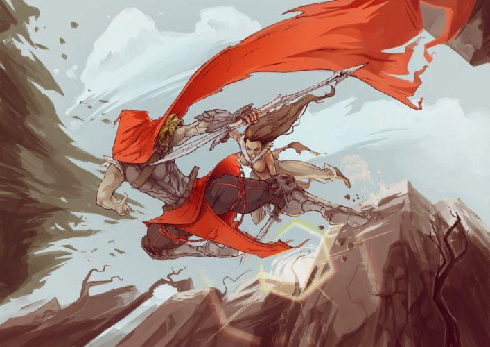 Battle Warrior Swords Spear Cloak Fantasy wallpaper