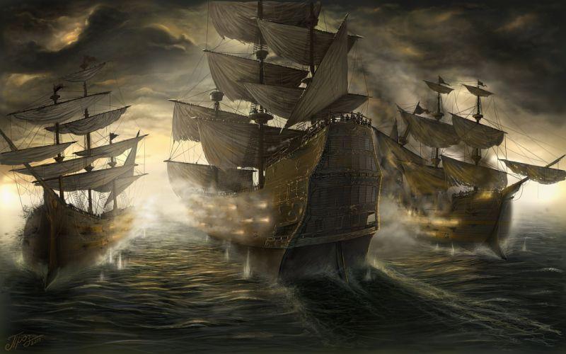 Battle Sailing Ship Fantasy boat war wallpaper