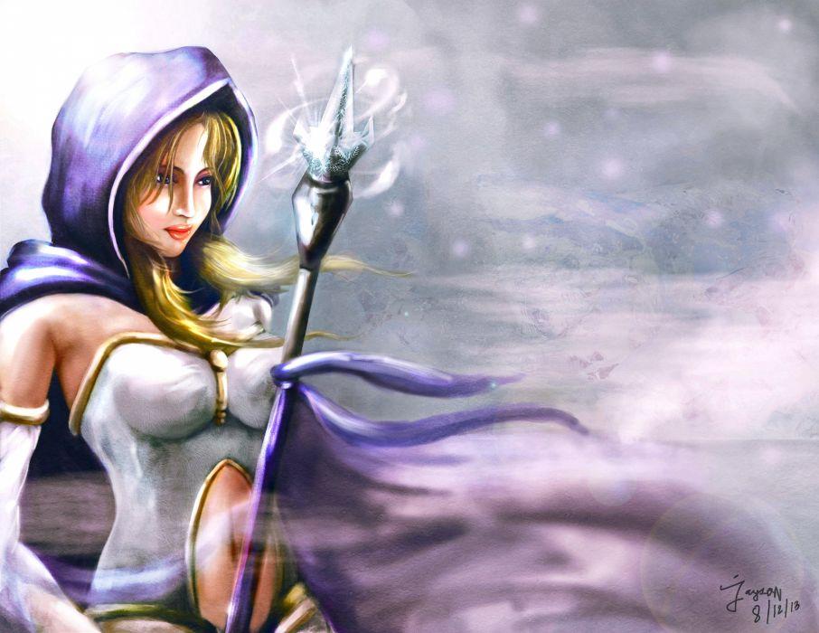 Dota 2 Magic Crystal Maiden Mage Staff Hood Headgear Games