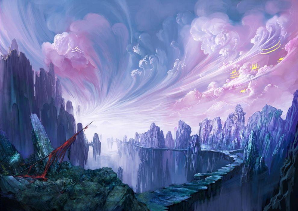 Fantastic world Clouds Fantasy magic magical landscape wallpaper