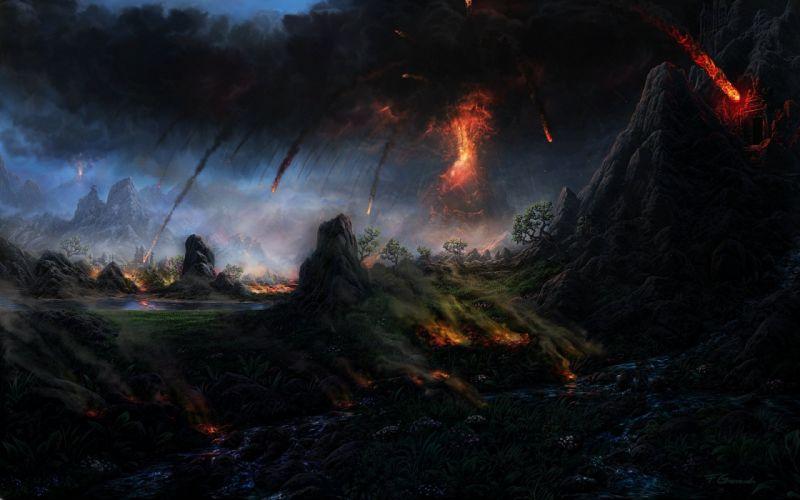 Fantastic world Fire Volcano Lava Fantasy landscape wallpaper