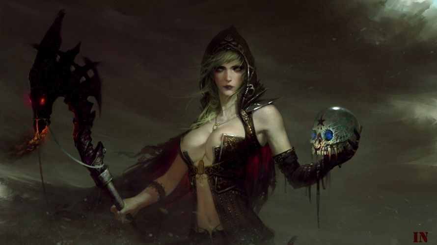 Magic Skull Gothic Mage Staff Hood headgear Fantasy Girls darl witch wallpaper