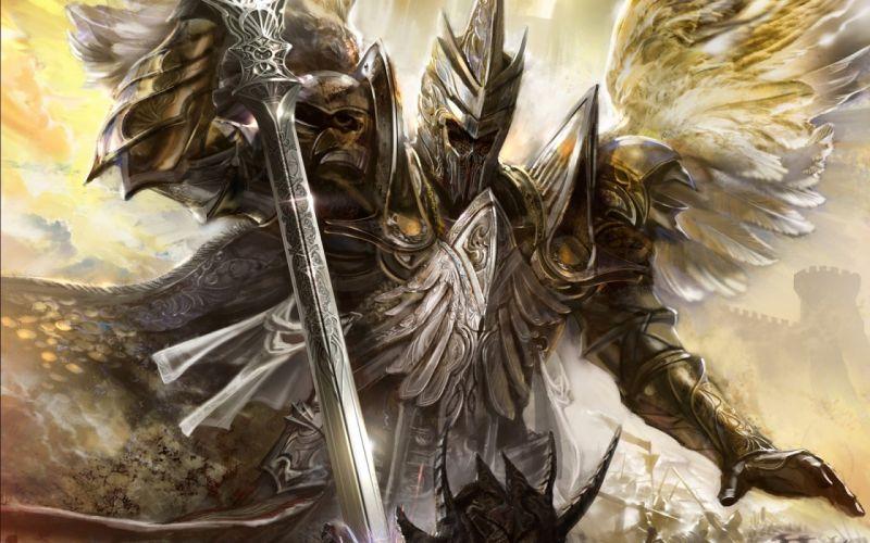 Warrior AngelsArmor Swords Helmet Wings Fantasy wallpaper
