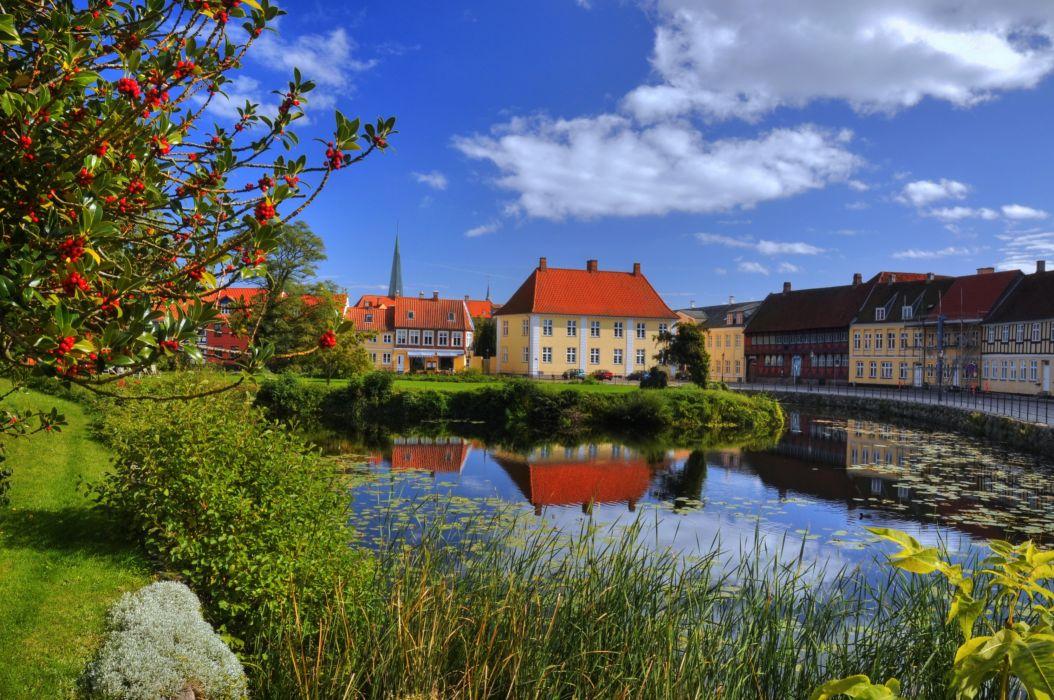 Denmark House Rivers Nyborg Cities wallpaper