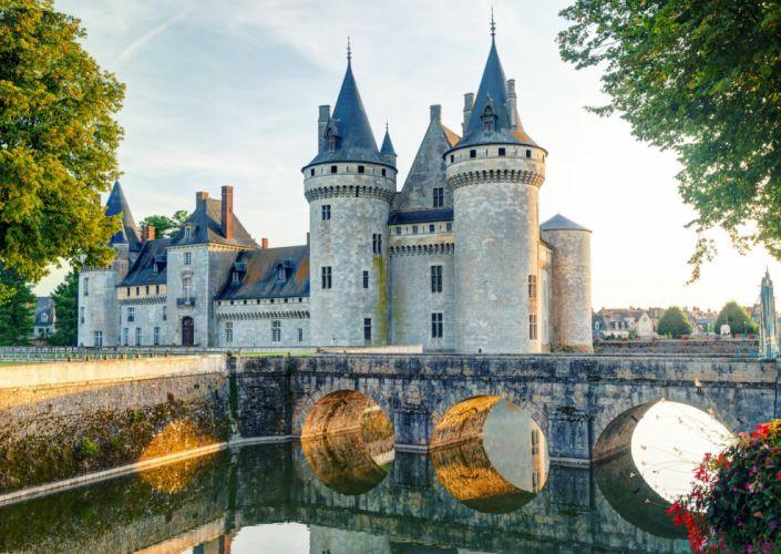 France Castle Bridges Sully-sur-Loire Canal wallpaper
