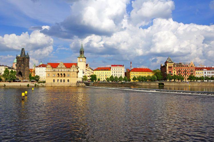 Prague Czech Republic Houses Rivers Sky Cities wallpaper