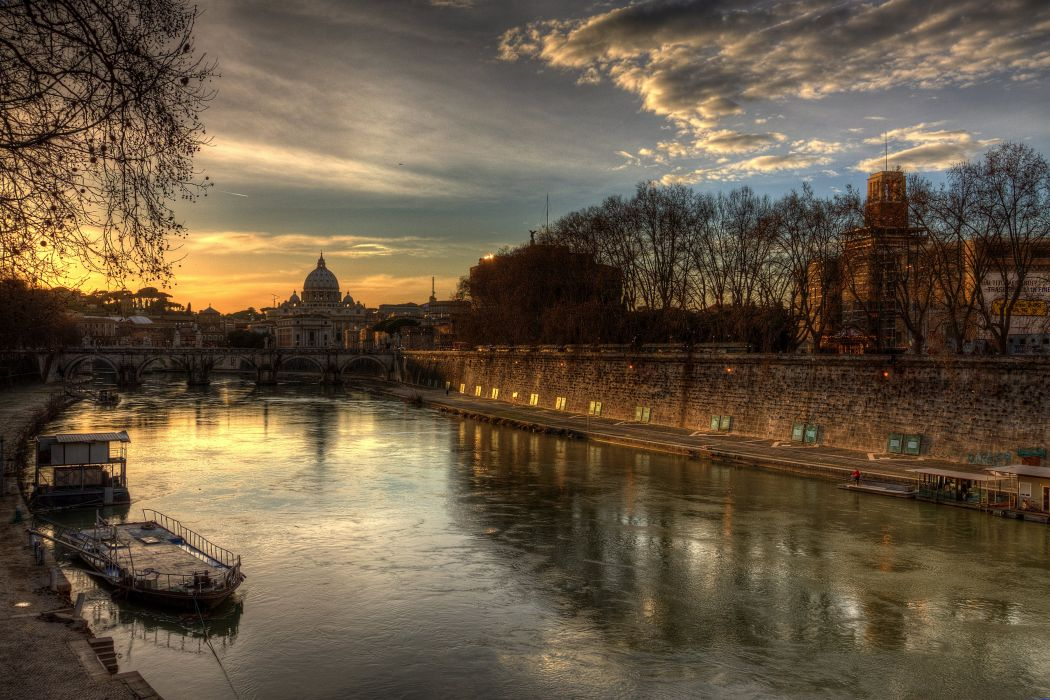 Italy Rivers Sunrises and sunsets Bridges Roma Cities wallpaper