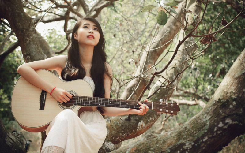 Guitar girl alone sing wallpaper
