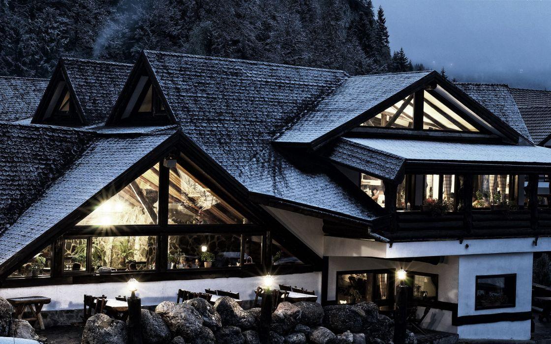 hause winter snow light wallpaper