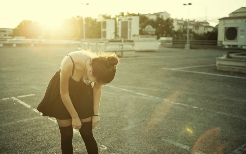 Girl sunset dress black parking wallpaper