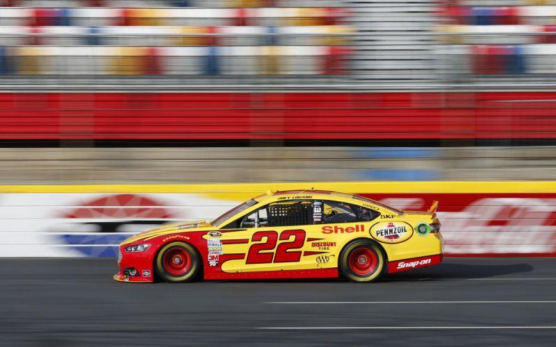 Nascar race car 22 yellow red speed wallpaper