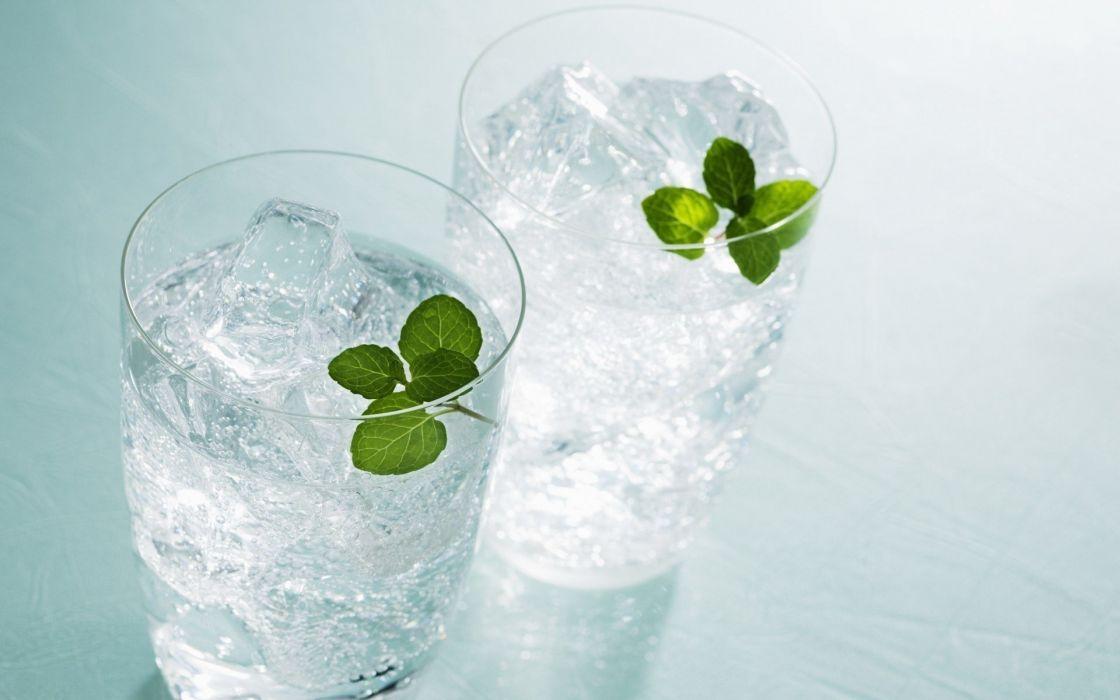 ice water leaf mentol green glass wallpaper