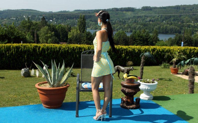 model girl dress yellow brunette sweet pose legs wallpaper