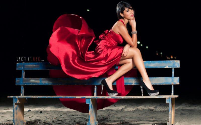 red dress girl brunette legs beauty wallpaper