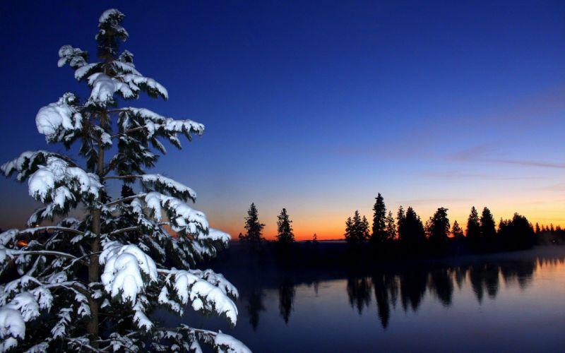 nature snow lake sunset wallpaper