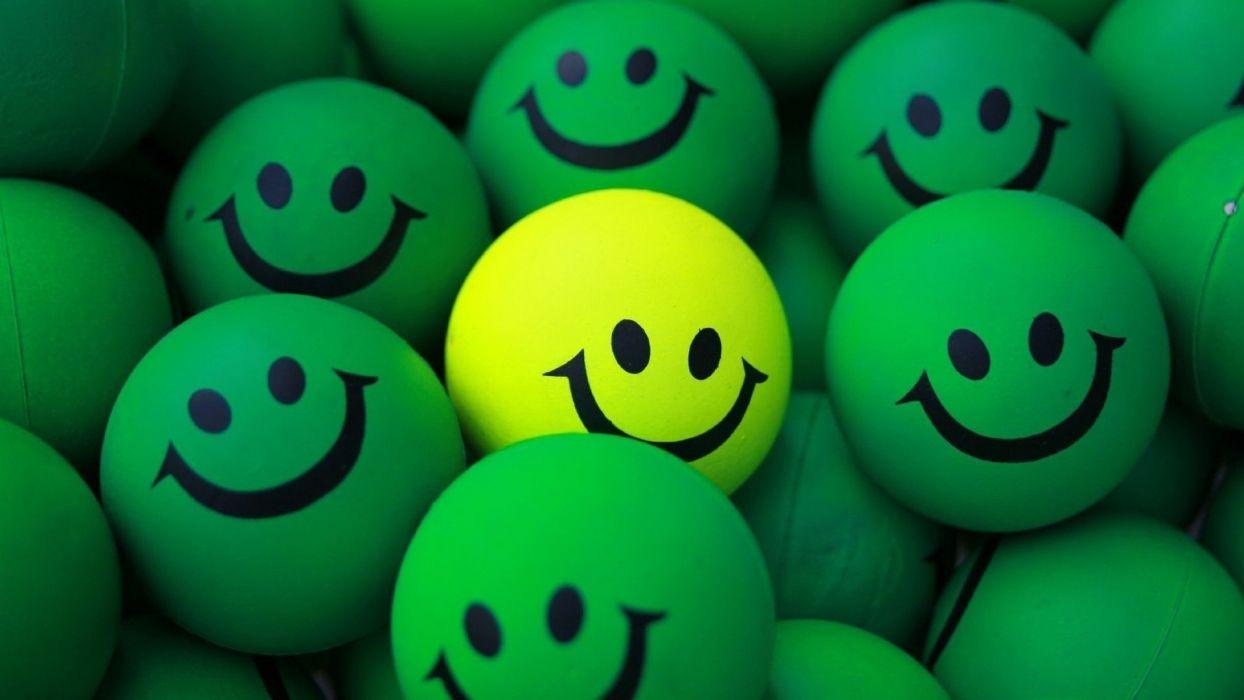balls green yellow smiles happy wallpaper