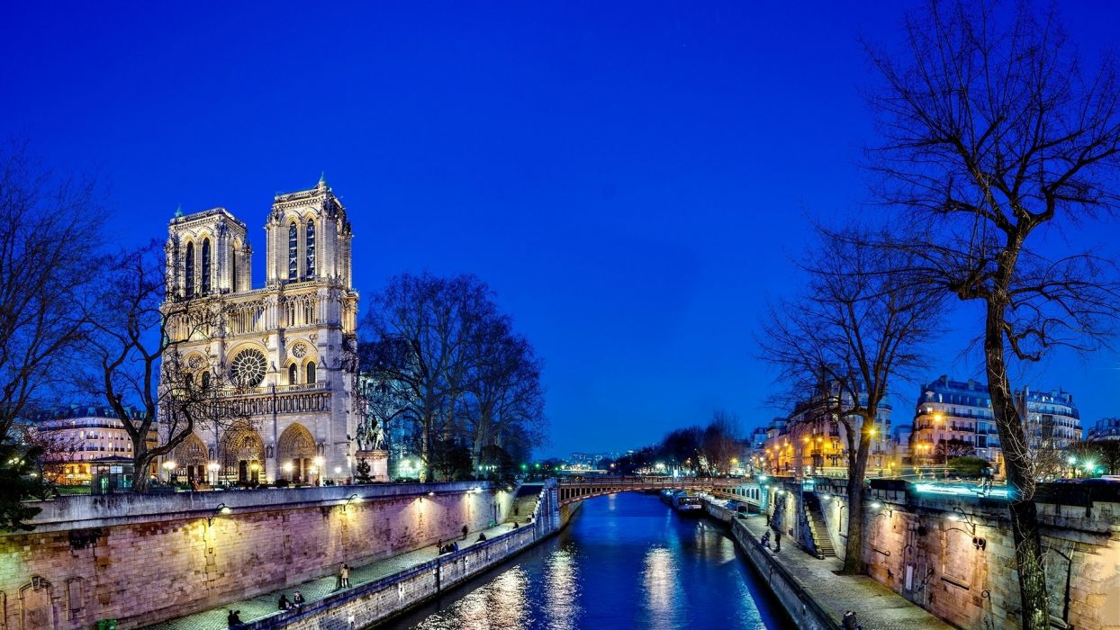 town city light tower sky blue river wallpaper
