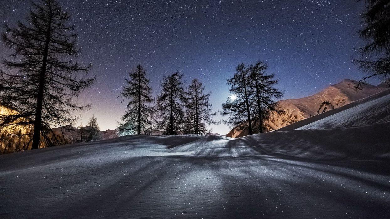 nature mountain snow sky sars wallpaper