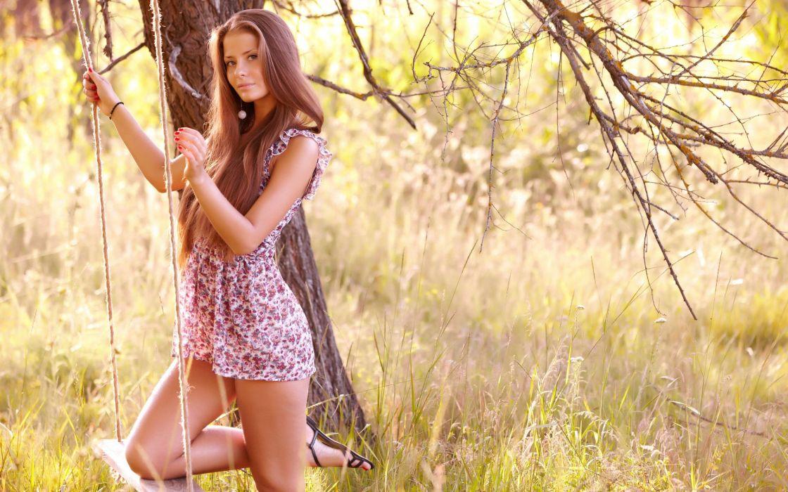 brunette woman beauty model dress wallpaper