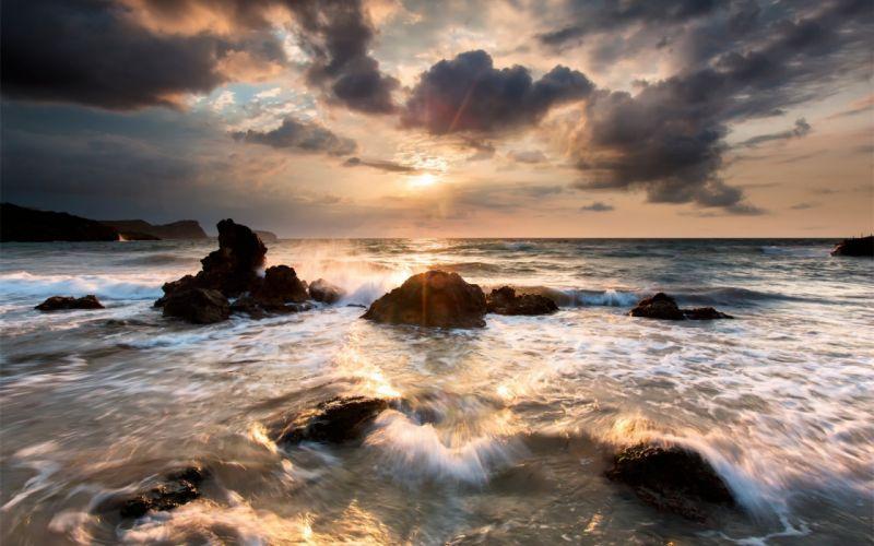 nature sky clouds sea ocean wallpaper