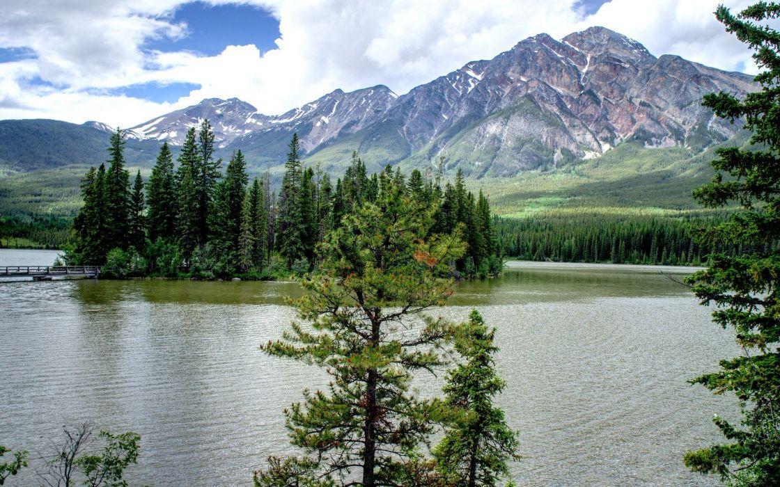 lake mountain forest sky spring wallpaper