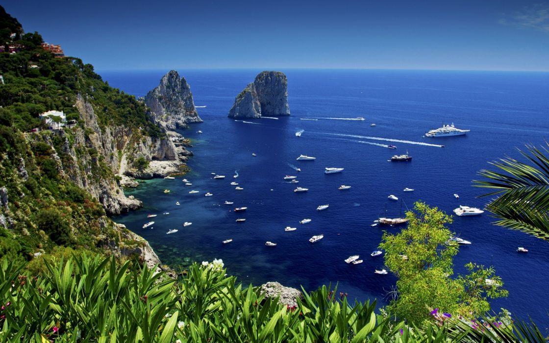 sea boats blue summer nature wallpaper