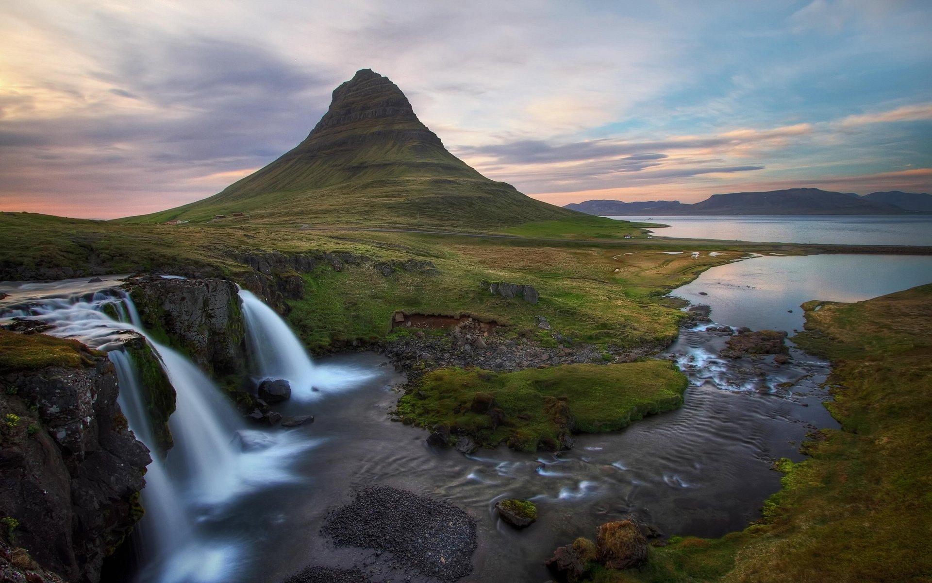 Водопад горы небо  № 5363 загрузить