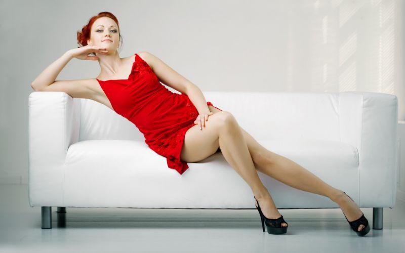 beauty woman legs dress red white cute wallpaper