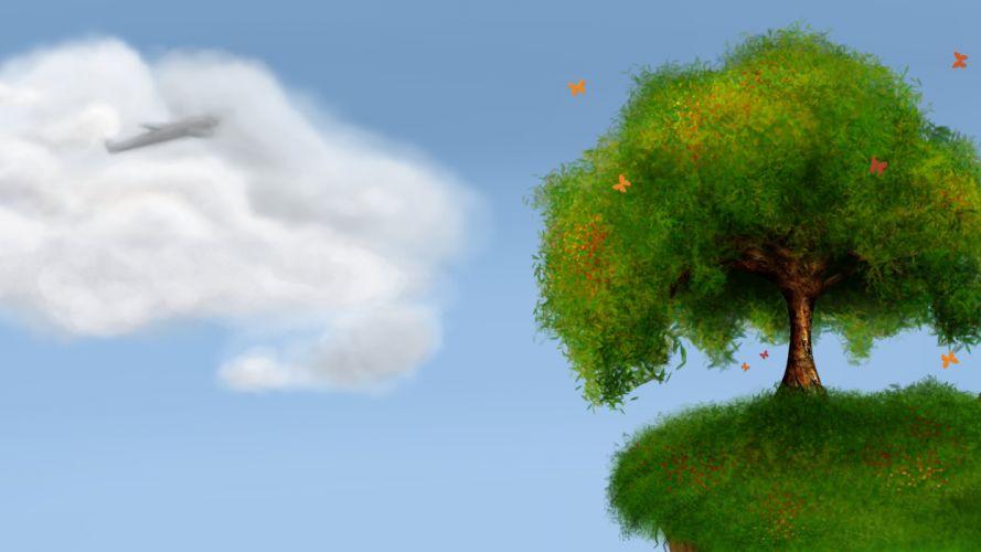 tree clouds sky fantasy green grass wallpaper