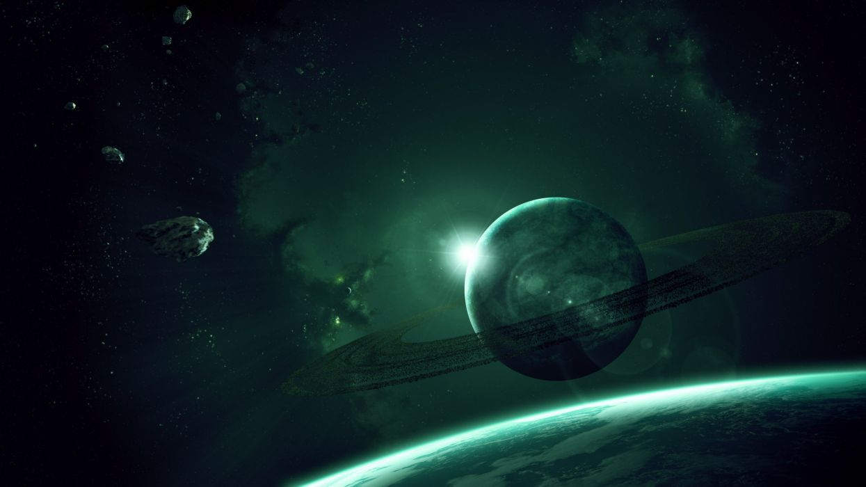 planet space blue rings wallpaper